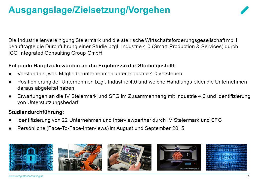 www.integratedconsulting.at 3 Ausgangslage/Zielsetzung/Vorgehen Die Industriellenvereinigung Steiermark und die steirische Wirtschaftsförderungsgesell