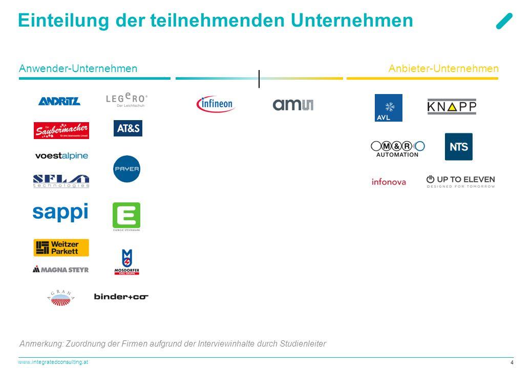 www.integratedconsulting.at 4 Einteilung der teilnehmenden Unternehmen Anwender-UnternehmenAnbieter-Unternehmen Anmerkung: Zuordnung der Firmen aufgru