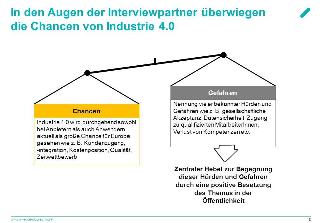 www.integratedconsulting.at 8 In den Augen der Interviewpartner überwiegen die Chancen von Industrie 4.0 Industrie 4.0 wird durchgehend sowohl bei Anbietern als auch Anwendern aktuell als große Chance für Europa gesehen wie z.