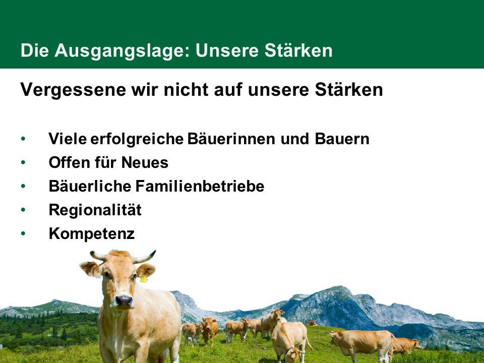Die Ausgangslage: Unsere Stärken Vergessene wir nicht auf unsere Stärken Viele erfolgreiche Bäuerinnen und Bauern Offen für Neues Bäuerliche Familienb