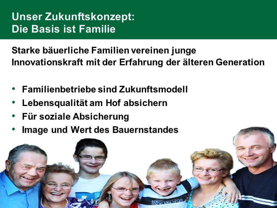 Unser Zukunftskonzept: Die Basis ist Familie Starke bäuerliche Familien vereinen junge Innovationskraft mit der Erfahrung der älteren Generation Famil