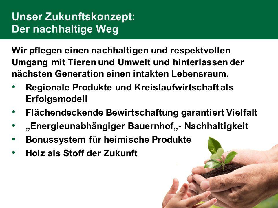 Unser Zukunftskonzept: Der nachhaltige Weg Wir pflegen einen nachhaltigen und respektvollen Umgang mit Tieren und Umwelt und hinterlassen der nächsten