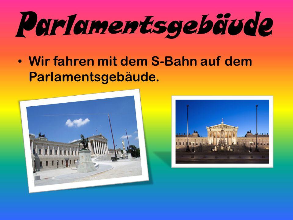 Wir fahren mit dem S-Bahn auf dem Parlamentsgebäude.