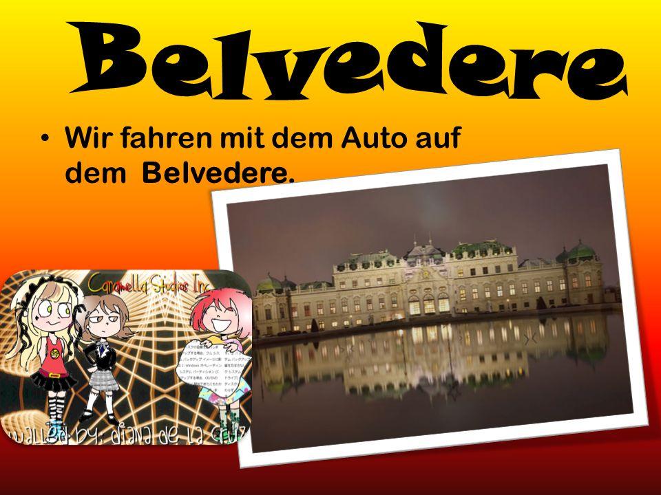 Wir fahren mit dem Auto auf dem Belvedere.