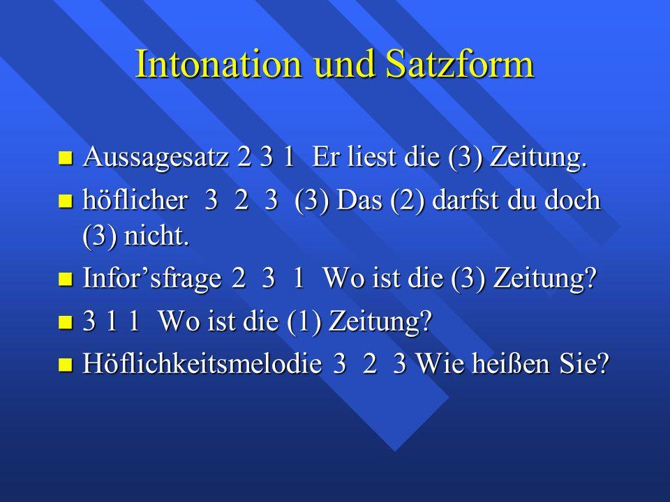 Intonation und Satzform Aussagesatz 2 3 1 Er liest die (3) Zeitung.