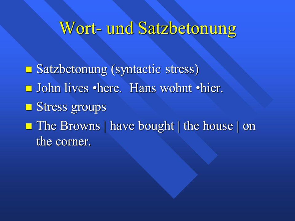Wort- und Satzbetonung Satzbetonung (syntactic stress) Satzbetonung (syntactic stress) John lives here.