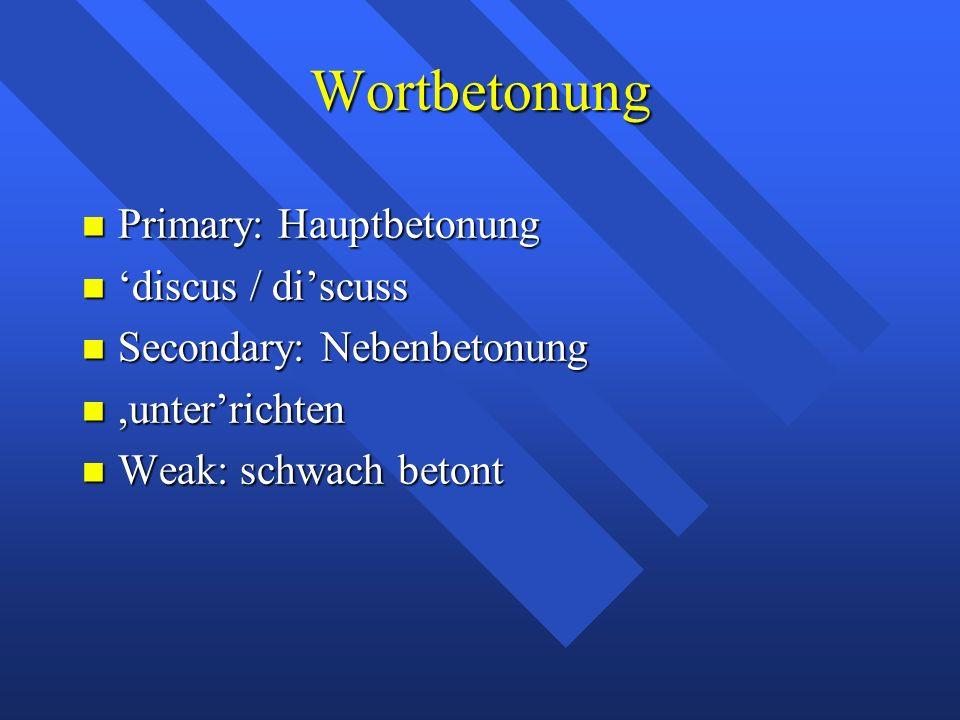 Wortbetonung Primary: Hauptbetonung Primary: Hauptbetonung 'discus / di'scuss 'discus / di'scuss Secondary: Nebenbetonung Secondary: Nebenbetonung,unter'richten,unter'richten Weak: schwach betont Weak: schwach betont