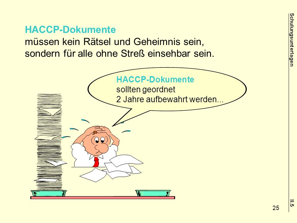 HACCP-Dokumente müssen kein Rätsel und Geheimnis sein, sondern für alle ohne Streß einsehbar sein. HACCP-Dokumente sollten geordnet 2 Jahre aufbewahrt