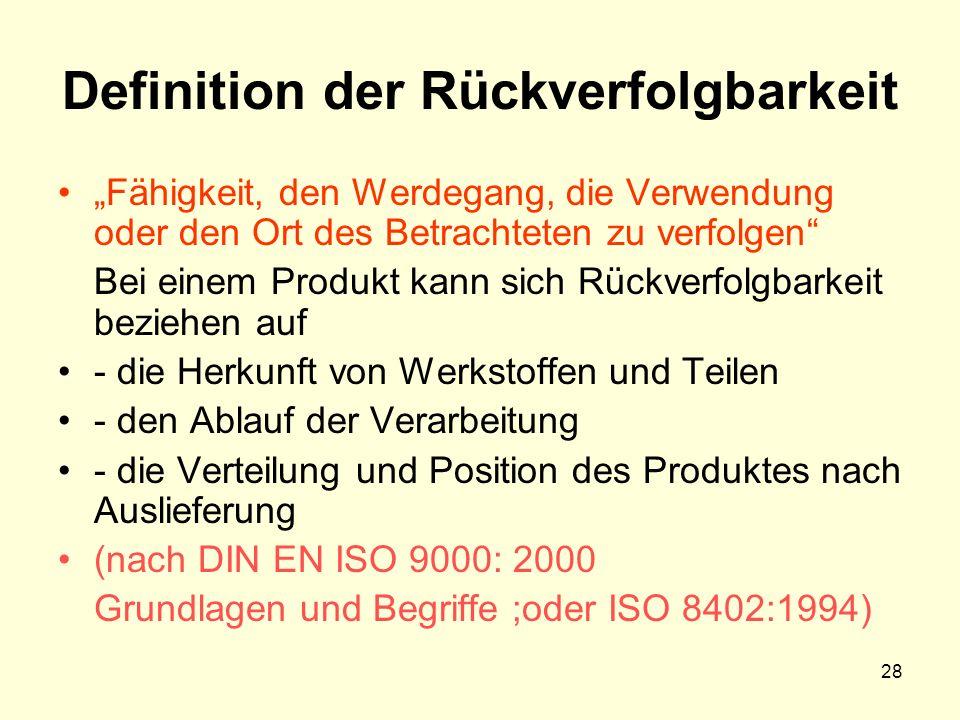 """Definition der Rückverfolgbarkeit """"Fähigkeit, den Werdegang, die Verwendung oder den Ort des Betrachteten zu verfolgen Bei einem Produkt kann sich Rückverfolgbarkeit beziehen auf - die Herkunft von Werkstoffen und Teilen - den Ablauf der Verarbeitung - die Verteilung und Position des Produktes nach Auslieferung (nach DIN EN ISO 9000: 2000 Grundlagen und Begriffe ;oder ISO 8402:1994) 28"""