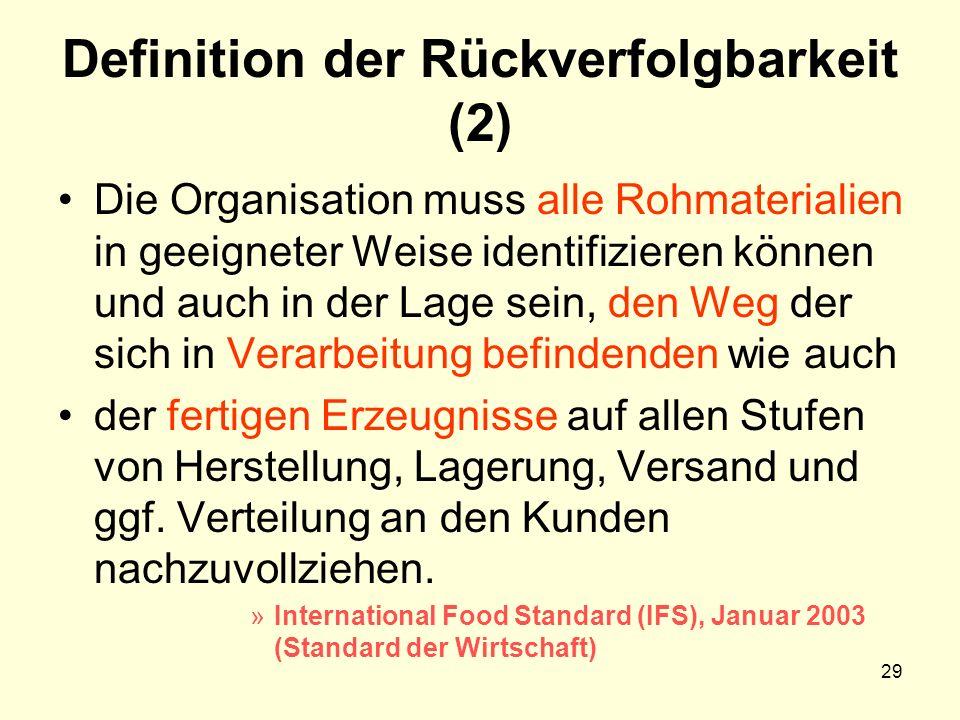 Definition der Rückverfolgbarkeit (2) Die Organisation muss alle Rohmaterialien in geeigneter Weise identifizieren können und auch in der Lage sein, d