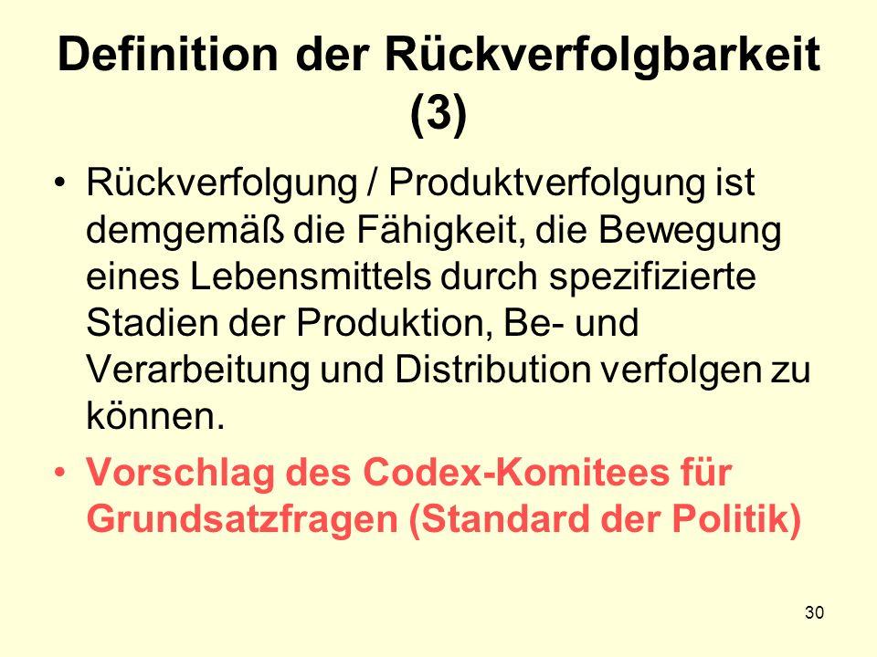 Definition der Rückverfolgbarkeit (3) Rückverfolgung / Produktverfolgung ist demgemäß die Fähigkeit, die Bewegung eines Lebensmittels durch spezifizierte Stadien der Produktion, Be- und Verarbeitung und Distribution verfolgen zu können.