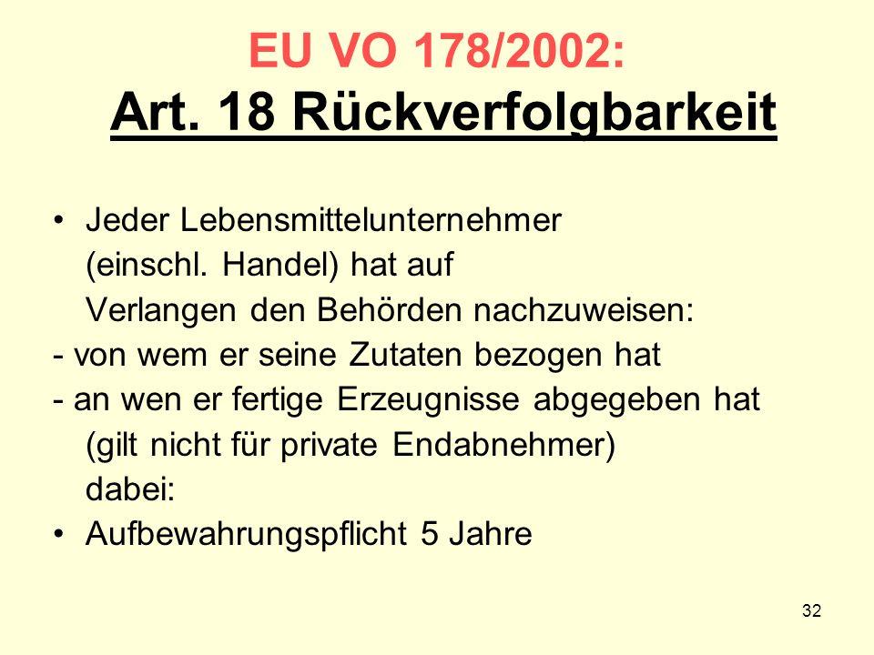 EU VO 178/2002: Art. 18 Rückverfolgbarkeit Jeder Lebensmittelunternehmer (einschl. Handel) hat auf Verlangen den Behörden nachzuweisen: - von wem er s