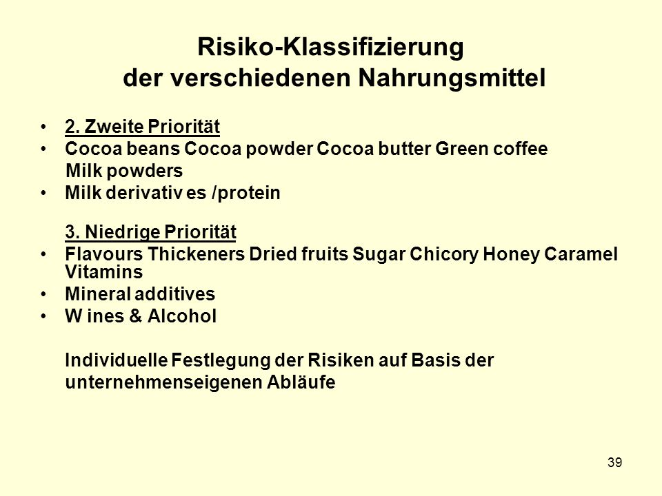Risiko-Klassifizierung der verschiedenen Nahrungsmittel 2. Zweite Priorität Cocoa beans Cocoa powder Cocoa butter Green coffee Milk powders Milk deriv