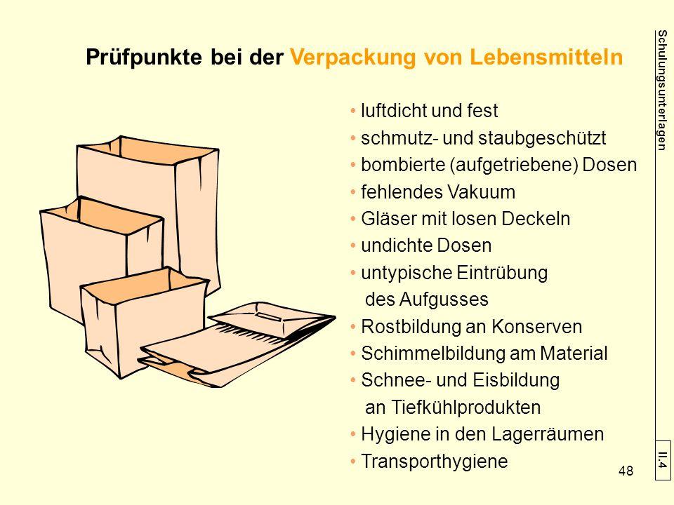 Prüfpunkte bei der Verpackung von Lebensmitteln luftdicht und fest schmutz- und staubgeschützt bombierte (aufgetriebene) Dosen fehlendes Vakuum Gläser