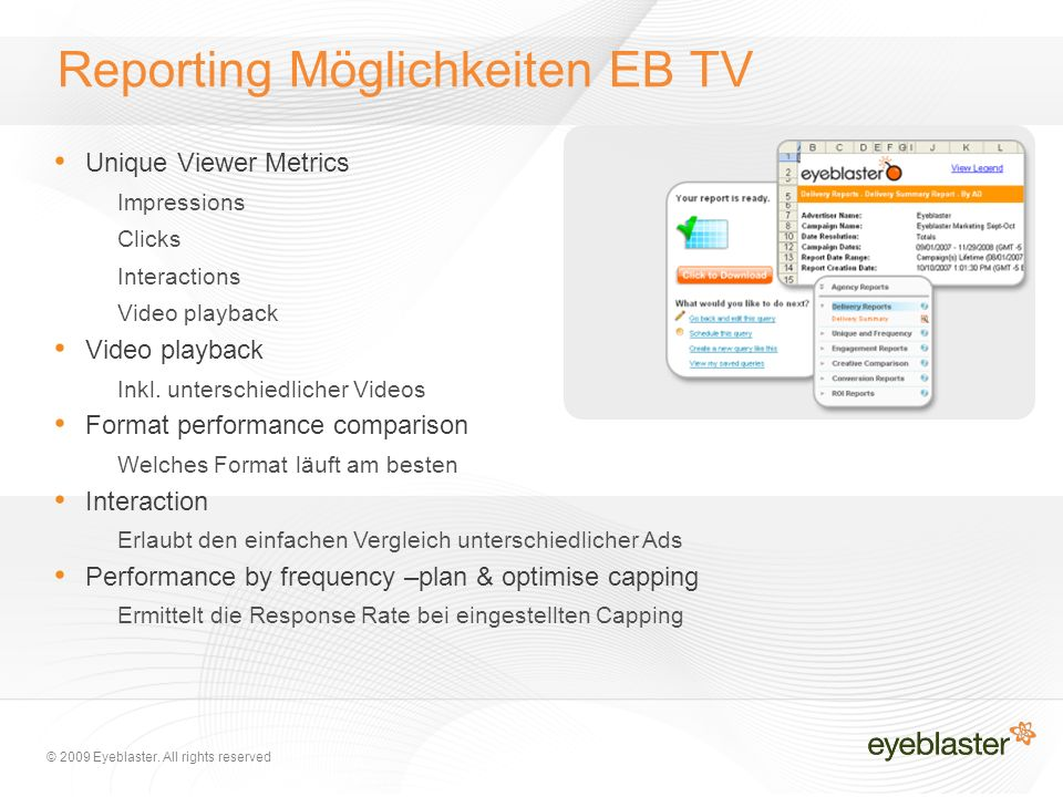 © 2009 Eyeblaster. All rights reserved Reporting Möglichkeiten EB TV Unique Viewer Metrics Impressions Clicks Interactions Video playback Inkl. unters