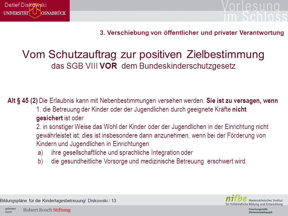 Vom Schutzauftrag zur positiven Zielbestimmung das SGB VIII VOR dem Bundeskinderschutzgesetz Detlef Diskowski Alt § 45 (2) Die Erlaubnis kann mit Nebenbestimmungen versehen werden.