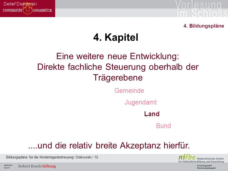 Eine weitere neue Entwicklung: Direkte fachliche Steuerung oberhalb der Trägerebene Gemeinde Jugendamt Land Bund....und die relativ breite Akzeptanz h