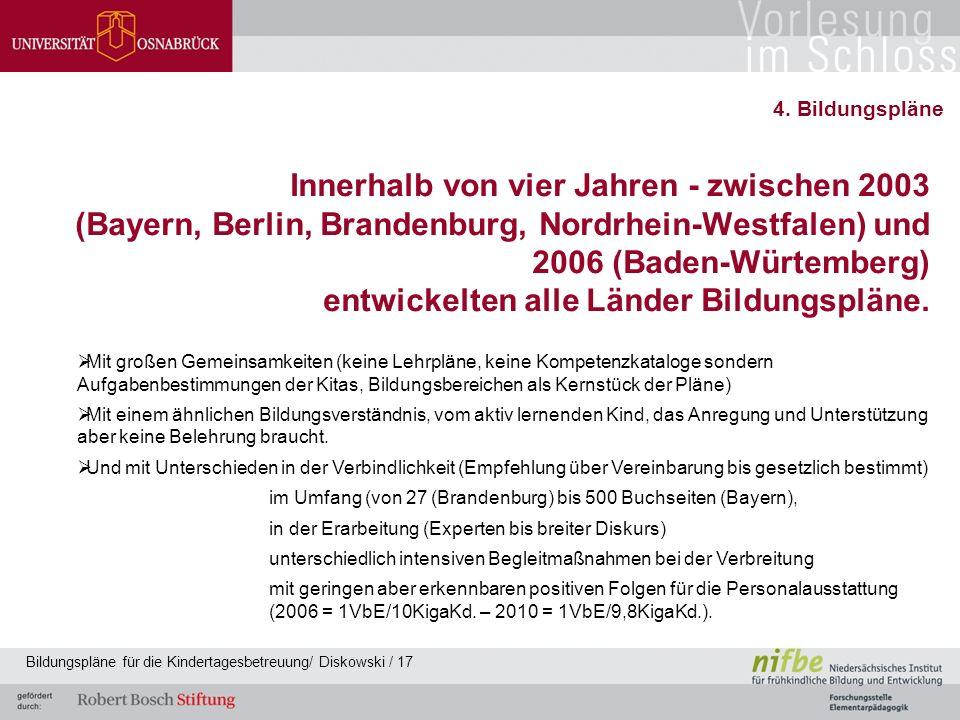 Innerhalb von vier Jahren - zwischen 2003 (Bayern, Berlin, Brandenburg, Nordrhein-Westfalen) und 2006 (Baden-Würtemberg) entwickelten alle Länder Bildungspläne.