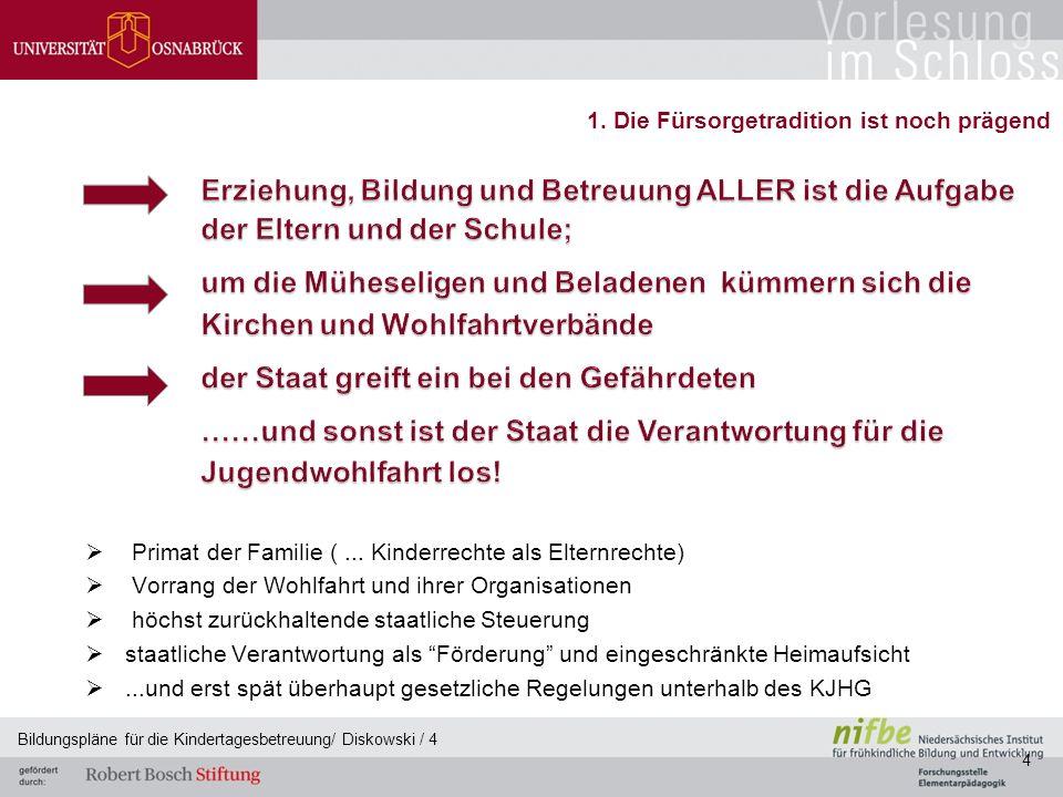 Nach meiner Vision würde ein zukünftiger Bildungsplan: - für alle Einrichtungen aller (öffentlich finanzierten) Träger verbindliche Vorgaben machen; - würde zwischen Pflicht und Kür klar unterscheiden; - in weiser Selbstbeschränkung nur allgemeingültige Essentials beschreiben und - wäre ein deutscher Bildungsplan und kein brandenburgischer oder hessischer Detlef Diskowski 4.