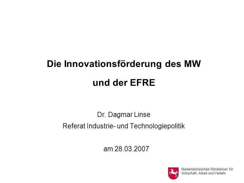 Niedersächsisches Ministerium für Wirtschaft, Arbeit und Verkehr Die Innovationsförderung des MW und der EFRE Dr.