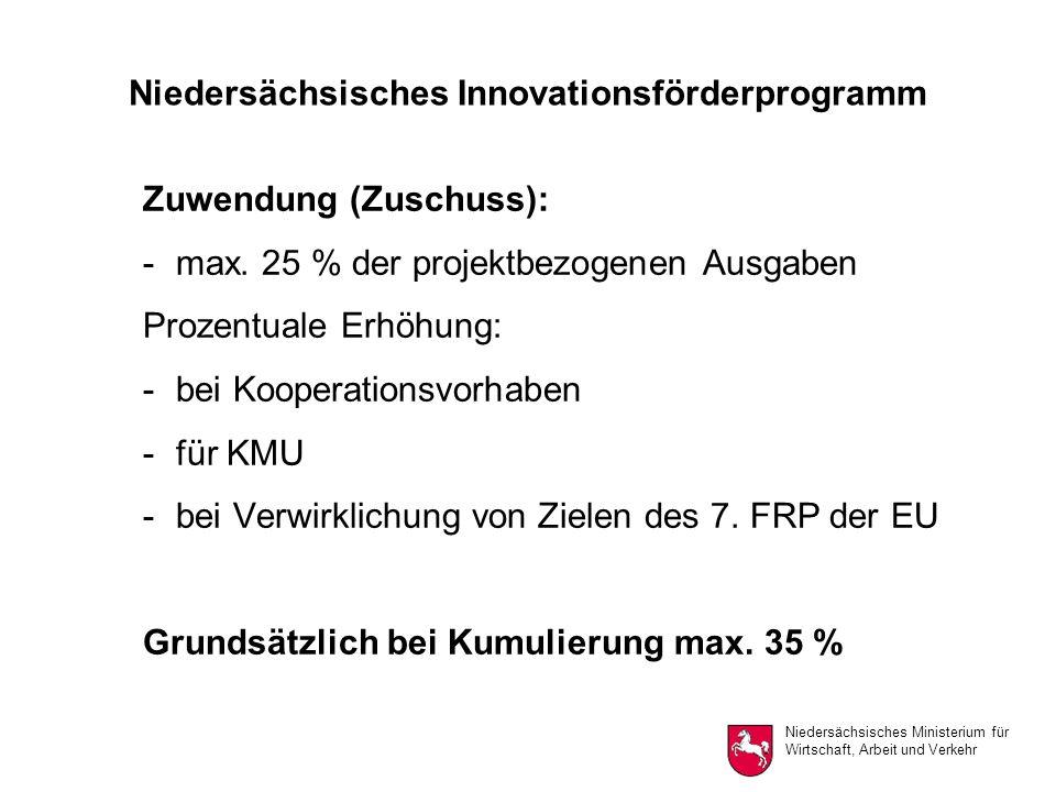 Niedersächsisches Ministerium für Wirtschaft, Arbeit und Verkehr Niedersächsisches Innovationsförderprogramm Zuwendung (Zuschuss): -max.