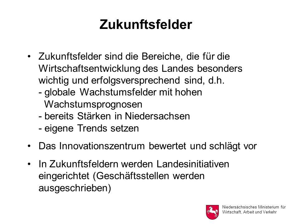 Niedersächsisches Ministerium für Wirtschaft, Arbeit und Verkehr Zukunftsfelder Zukunftsfelder sind die Bereiche, die für die Wirtschaftsentwicklung des Landes besonders wichtig und erfolgsversprechend sind, d.h.