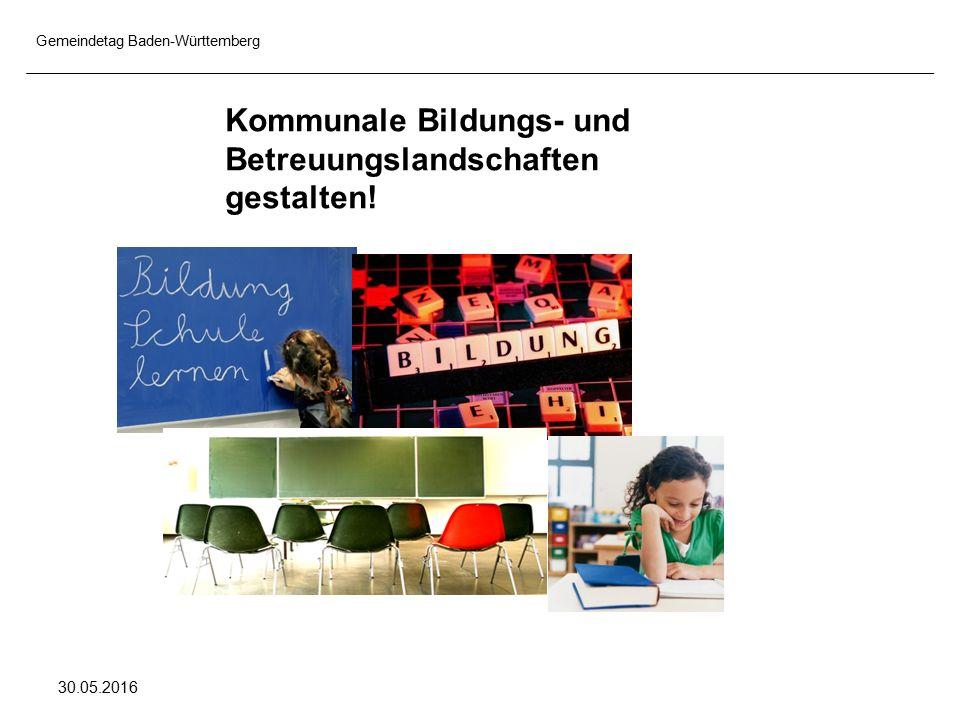 Gemeindetag Baden-Württemberg 30.05.2016 Kommunale Bildungs- und Betreuungslandschaften gestalten!