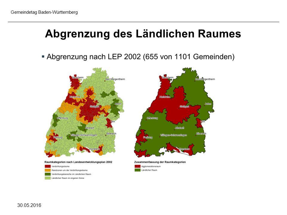 Gemeindetag Baden-Württemberg 30.05.2016 Abgrenzung des Ländlichen Raumes