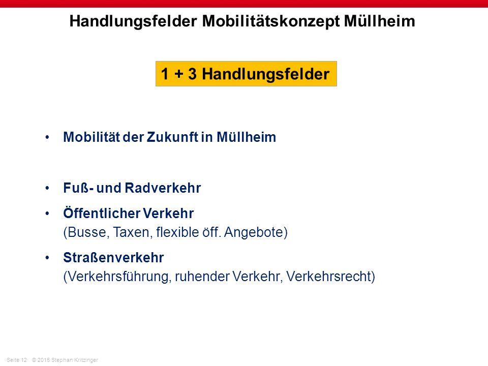Seite 12© 2015 Stephan Kritzinger Handlungsfelder Mobilitätskonzept Müllheim Mobilität der Zukunft in Müllheim Fuß- und Radverkehr Öffentlicher Verkehr (Busse, Taxen, flexible öff.