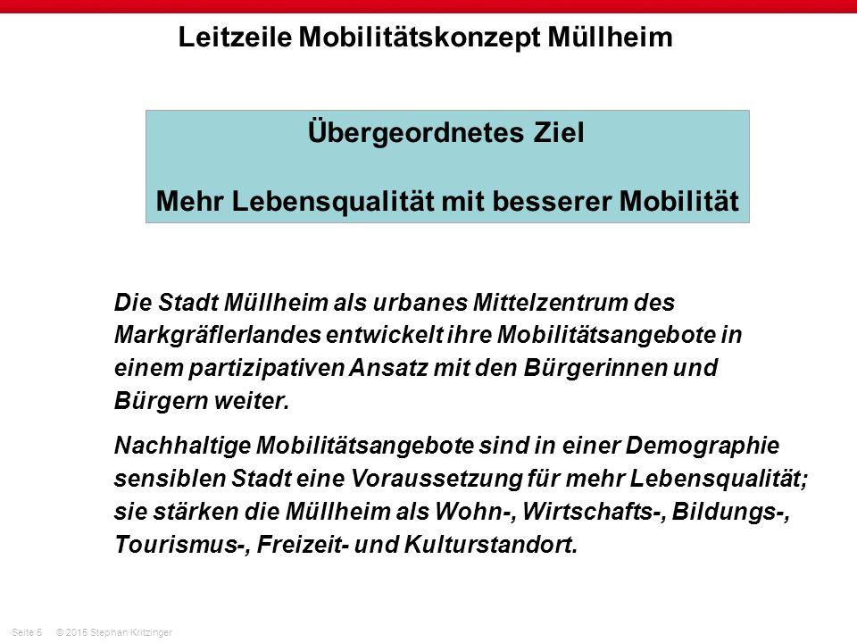 Seite 6© 2015 Stephan Kritzinger Leitzeile Mobilitätskonzept Müllheim Die örtliche und überörtliche Erreichbarkeit der Kernstadt und der Ortsteile wird nachfrage- und umweltgerecht gesichert.