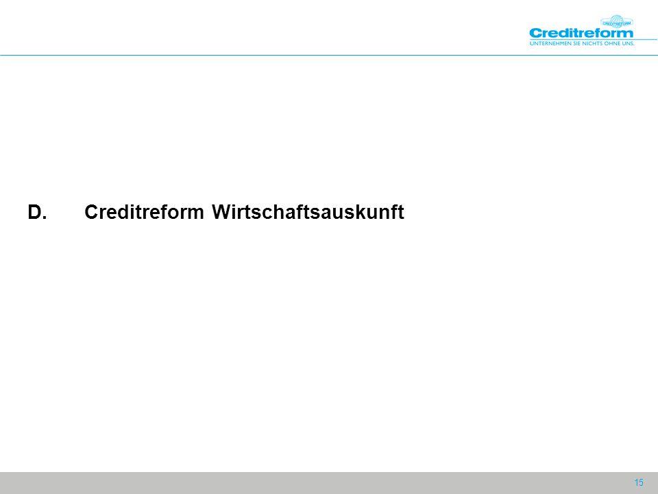 15 D.Creditreform Wirtschaftsauskunft