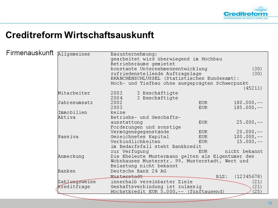 18 Creditreform Wirtschaftsauskunft Firmenauskunft