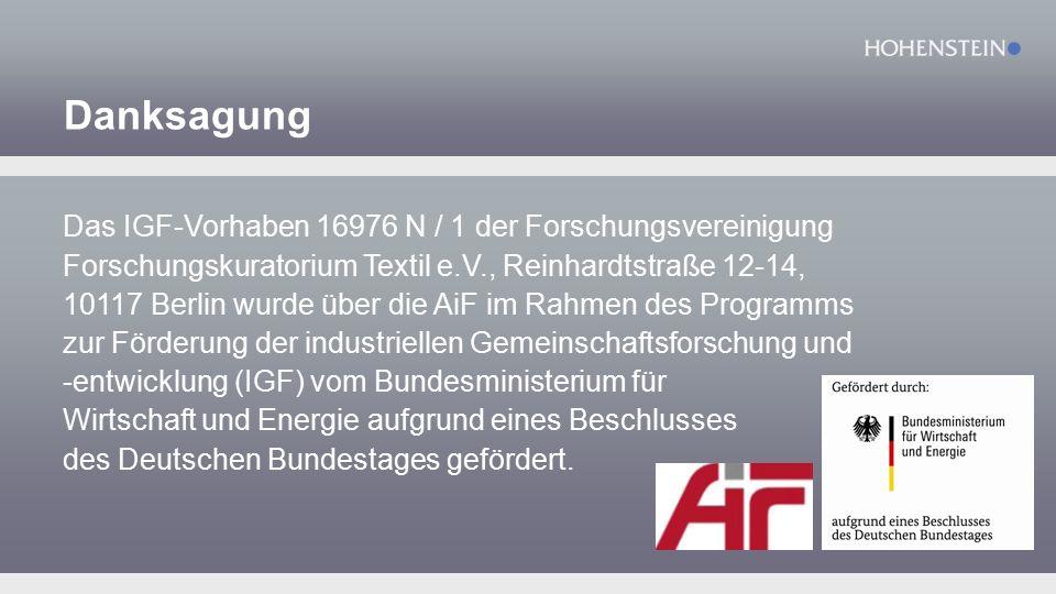 Danksagung Das IGF-Vorhaben 16976 N / 1 der Forschungsvereinigung Forschungskuratorium Textil e.V., Reinhardtstraße 12-14, 10117 Berlin wurde über die AiF im Rahmen des Programms zur Förderung der industriellen Gemeinschaftsforschung und -entwicklung (IGF) vom Bundesministerium für Wirtschaft und Energie aufgrund eines Beschlusses des Deutschen Bundestages gefördert.