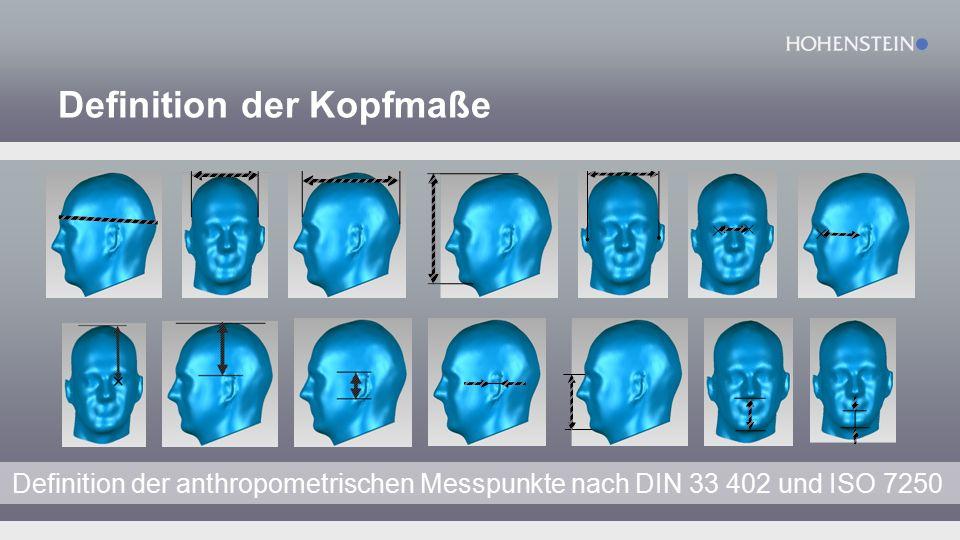 Definition der Kopfmaße Definition der anthropometrischen Messpunkte nach DIN 33 402 und ISO 7250