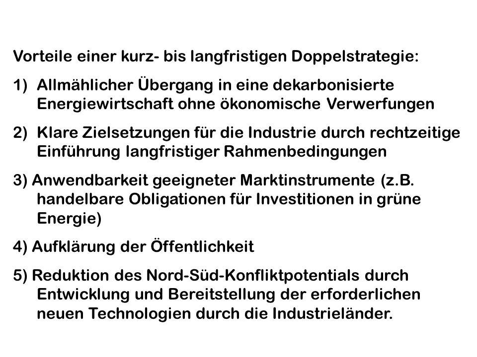 Vorteile einer kurz- bis langfristigen Doppelstrategie: 1)Allmählicher Übergang in eine dekarbonisierte Energiewirtschaft ohne ökonomische Verwerfungen 2)Klare Zielsetzungen für die Industrie durch rechtzeitige Einführung langfristiger Rahmenbedingungen 3) Anwendbarkeit geeigneter Marktinstrumente (z.B.