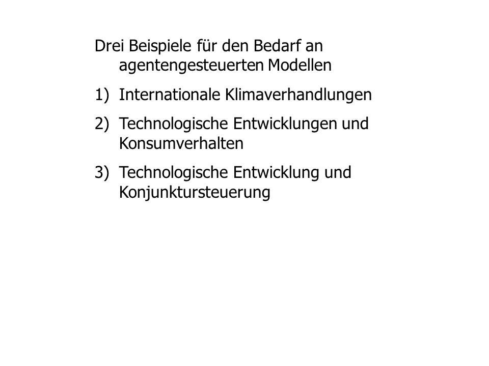 Drei Beispiele für den Bedarf an agentengesteuerten Modellen 1)Internationale Klimaverhandlungen 2)Technologische Entwicklungen und Konsumverhalten 3)Technologische Entwicklung und Konjunktursteuerung