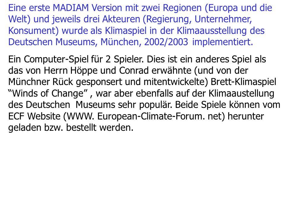 Eine erste MADIAM Version mit zwei Regionen (Europa und die Welt) und jeweils drei Akteuren (Regierung, Unternehmer, Konsument) wurde als Klimaspiel in der Klimaausstellung des Deutschen Museums, München, 2002/2003 implementiert.