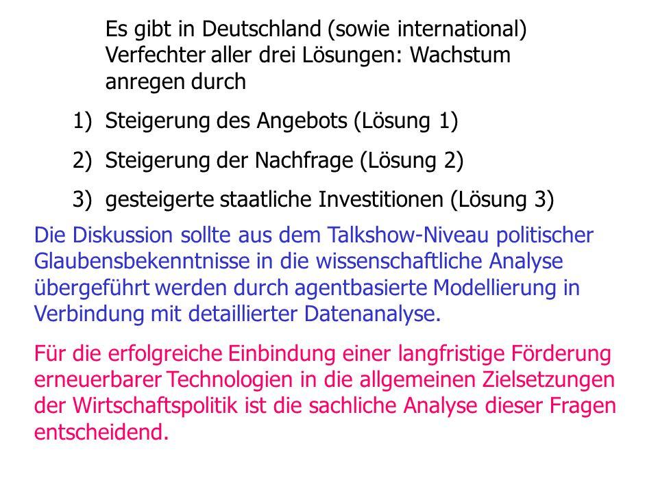 Es gibt in Deutschland (sowie international) Verfechter aller drei Lösungen: Wachstum anregen durch 1)Steigerung des Angebots (Lösung 1) 2)Steigerung der Nachfrage (Lösung 2) 3)gesteigerte staatliche Investitionen (Lösung 3) Die Diskussion sollte aus dem Talkshow-Niveau politischer Glaubensbekenntnisse in die wissenschaftliche Analyse übergeführt werden durch agentbasierte Modellierung in Verbindung mit detaillierter Datenanalyse.