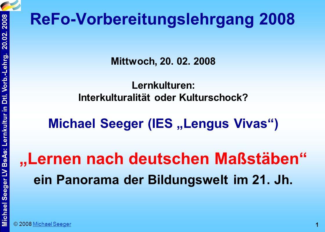 Michael Seeger LV BsAs: Lernkultur in Dtl.Vorb.-Lehrg.