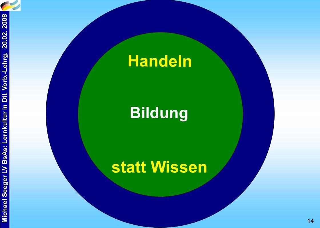 Michael Seeger LV BsAs: Lernkultur in Dtl. Vorb.-Lehrg. 20.02. 2008 14 Bildung Handeln statt Wissen