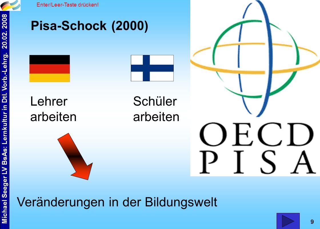 9 Pisa-Schock (2000) Veränderungen in der Bildungswelt Schüler arbeiten Lehrer arbeiten Enter/Leer-Taste drücken!