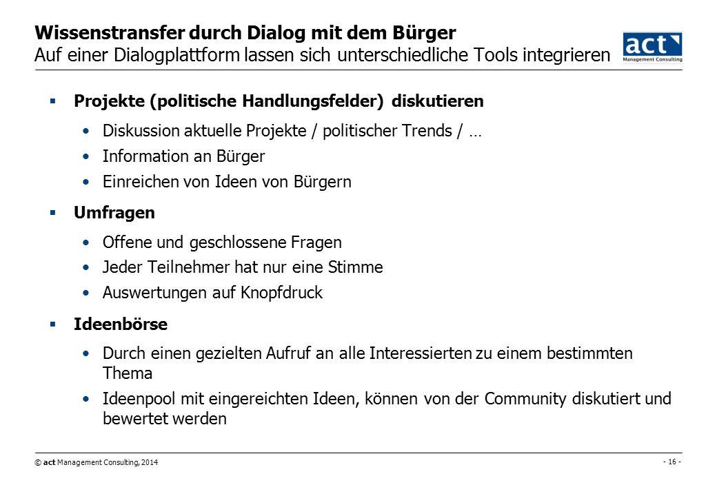 © act Management Consulting, 2014 - 17 - Agenda 1.act MC / Auinger 2.Wissensmanagement/Wissenstransfer 3.Verwaltung  Politik 4.Bürger  Gemeinde 5.Gemeinde  Gemeinde 6.Resümee