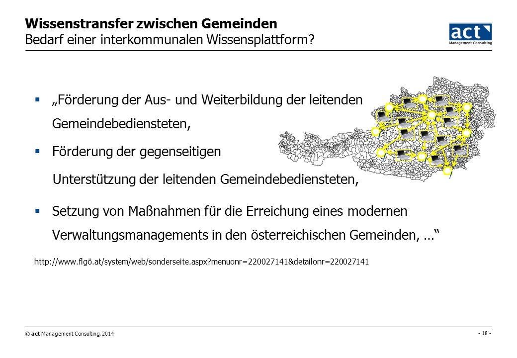 © act Management Consulting, 2014 - 18 - Wissenstransfer zwischen Gemeinden Bedarf einer interkommunalen Wissensplattform.