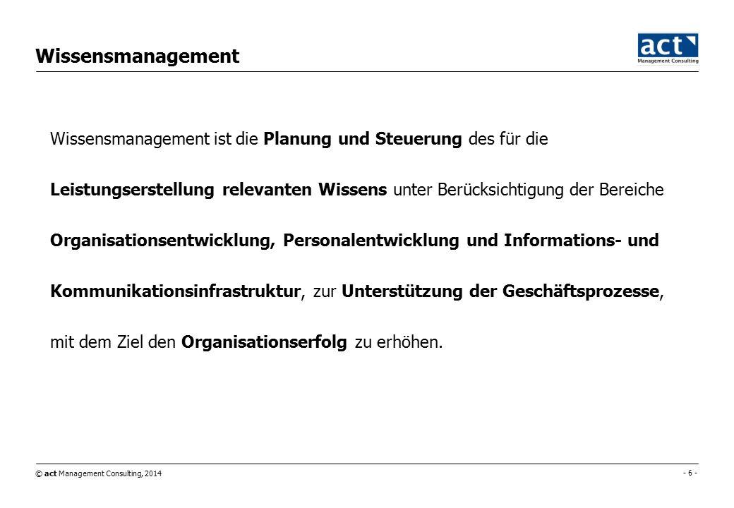 © act Management Consulting, 2014 - 6 - Wissensmanagement Wissensmanagement ist die Planung und Steuerung des für die Leistungserstellung relevanten Wissens unter Berücksichtigung der Bereiche Organisationsentwicklung, Personalentwicklung und Informations- und Kommunikationsinfrastruktur, zur Unterstützung der Geschäftsprozesse, mit dem Ziel den Organisationserfolg zu erhöhen.