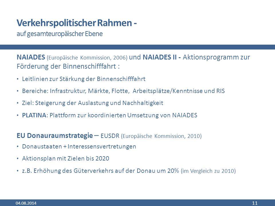 Verkehrspolitischer Rahmen - auf gesamteuropäischer Ebene NAIADES (Europäische Kommission, 2006) und NAIADES II - Aktionsprogramm zur Förderung der Binnenschifffahrt : Leitlinien zur Stärkung der Binnenschifffahrt Bereiche: Infrastruktur, Märkte, Flotte, Arbeitsplätze/Kenntnisse und RIS Ziel: Steigerung der Auslastung und Nachhaltigkeit PLATINA: Plattform zur koordinierten Umsetzung von NAIADES EU Donauraumstrategie – EUSDR (Europäische Kommission, 2010) Donaustaaten + Interessensvertretungen Aktionsplan mit Zielen bis 2020 z.B.
