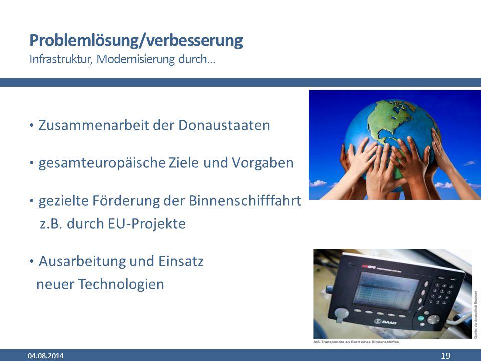 Problemlösung/verbesserung Infrastruktur, Modernisierung durch… Zusammenarbeit der Donaustaaten gesamteuropäische Ziele und Vorgaben gezielte Förderung der Binnenschifffahrt z.B.