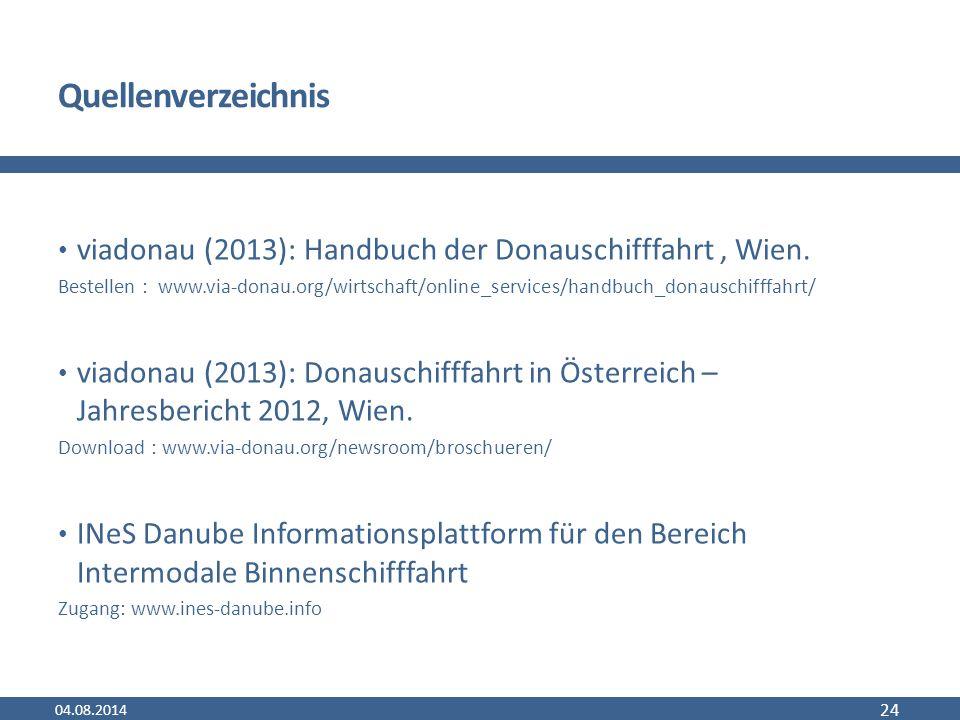 Quellenverzeichnis viadonau (2013): Handbuch der Donauschifffahrt, Wien.