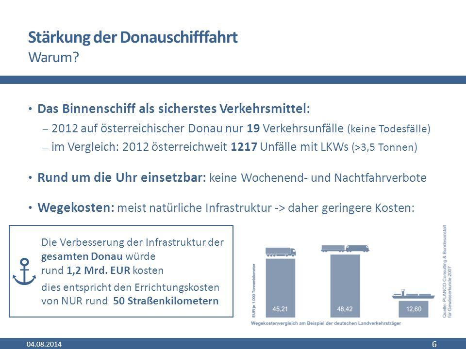 Probleme der Donauschifffahrt Abhängigkeit von Fahrwasserverhältnissen Brücken niedrige Transportgeschwindigkeit geringe Netzdichte (Vor-/Nachläufe notwendig) teilweise nicht adäquate Instandhaltung hoher Modernisierungsbedarf der Häfen und Flotten Personalproblematik (fehlendes ausgebildetes Personal) 04.08.2014 7