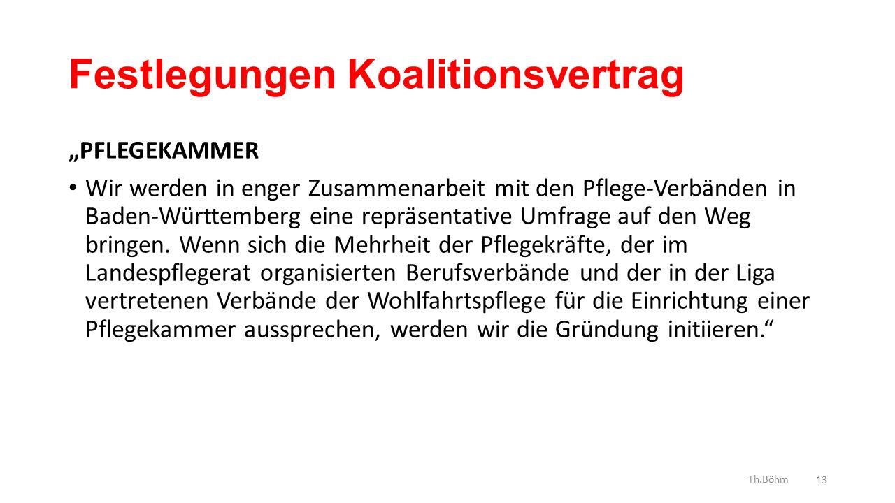 """Festlegungen Koalitionsvertrag """"PFLEGEKAMMER Wir werden in enger Zusammenarbeit mit den Pflege-Verbänden in Baden-Württemberg eine repräsentative Umfrage auf den Weg bringen."""