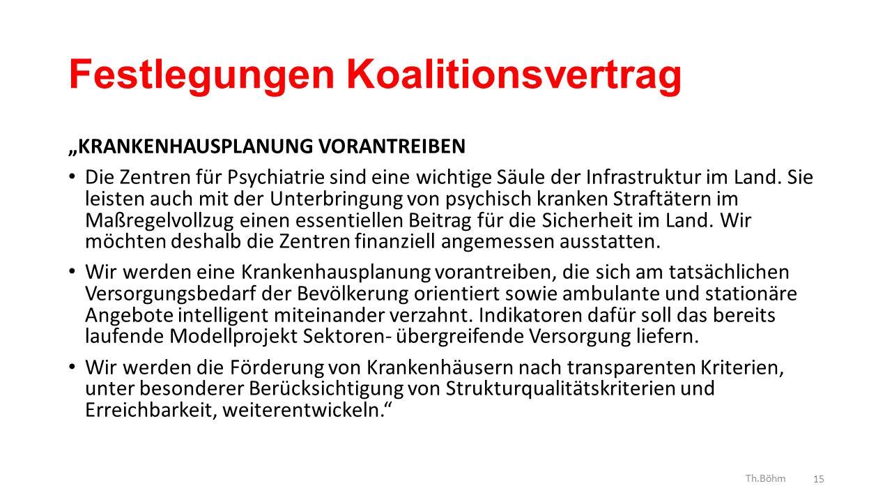"""Festlegungen Koalitionsvertrag """"KRANKENHAUSPLANUNG VORANTREIBEN Die Zentren für Psychiatrie sind eine wichtige Säule der Infrastruktur im Land."""